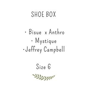 Shoe box, Anthropologie and Jeffrey Campbell